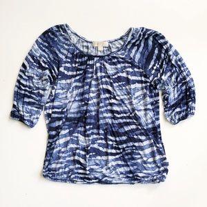 Michael Kors Blue Tie Dye Watercolor Top Sz L